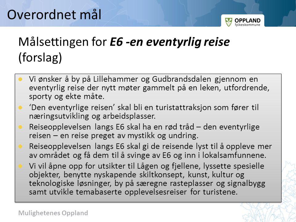Mulighetenes Oppland Målsettingen for E6 -en eventyrlig reise (forslag) Vi ønsker å by på Lillehammer og Gudbrandsdalen gjennom en eventyrlig reise de