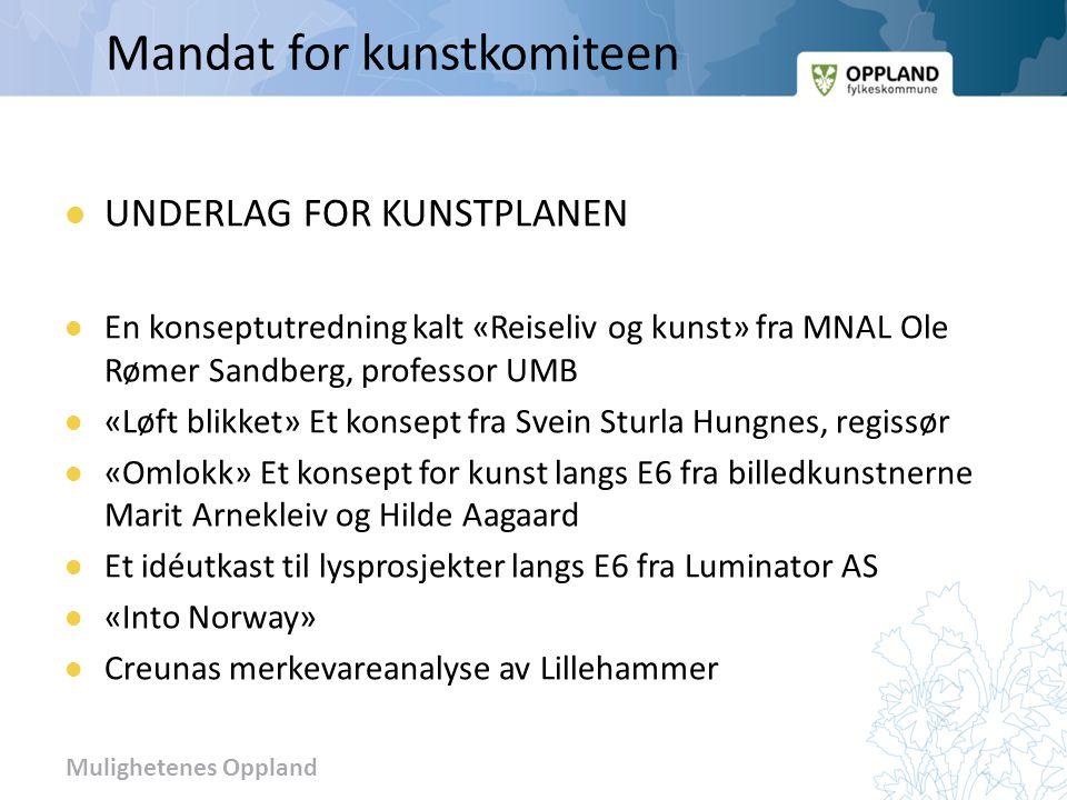 Mulighetenes Oppland Mandat for kunstkomiteen UNDERLAG FOR KUNSTPLANEN En konseptutredning kalt «Reiseliv og kunst» fra MNAL Ole Rømer Sandberg, profe