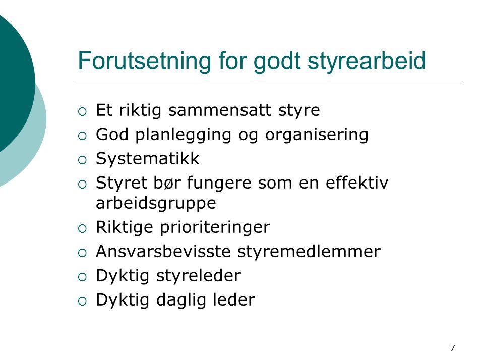 7 Forutsetning for godt styrearbeid  Et riktig sammensatt styre  God planlegging og organisering  Systematikk  Styret bør fungere som en effektiv