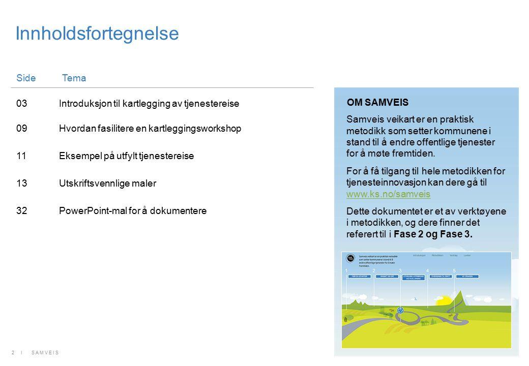 Innholdsfortegnelse SideTema 03Introduksjon til kartlegging av tjenestereise 09Hvordan fasilitere en kartleggingsworkshop 11Eksempel på utfylt tjenest