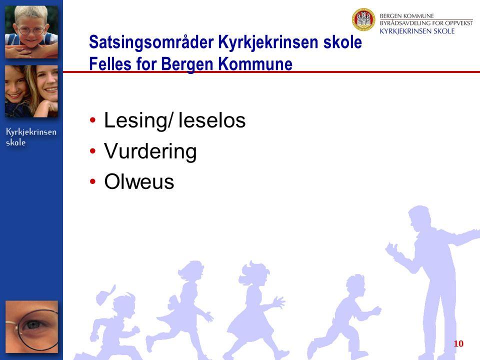 10 Satsingsområder Kyrkjekrinsen skole Felles for Bergen Kommune Lesing/ leselos Vurdering Olweus