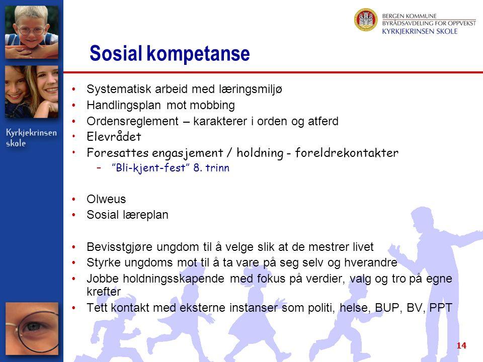 14 Sosial kompetanse Systematisk arbeid med læringsmiljø Handlingsplan mot mobbing Ordensreglement – karakterer i orden og atferd Elevrådet Foresattes