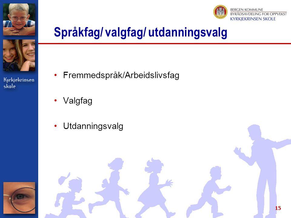 15 Språkfag/ valgfag/ utdanningsvalg Fremmedspråk/Arbeidslivsfag Valgfag Utdanningsvalg