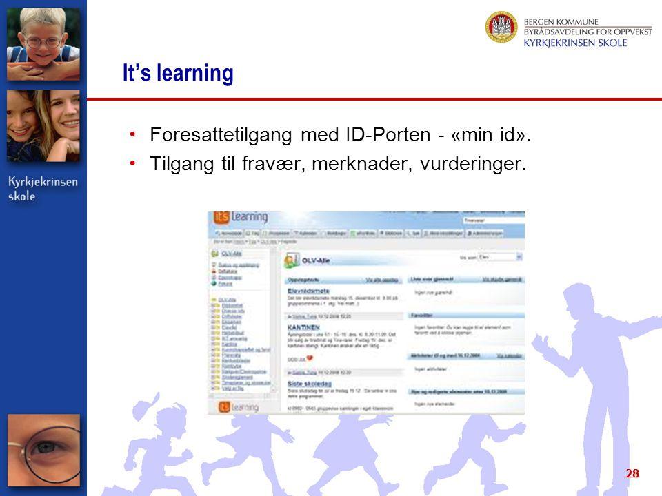 It's learning Foresattetilgang med ID-Porten - «min id». Tilgang til fravær, merknader, vurderinger. 28