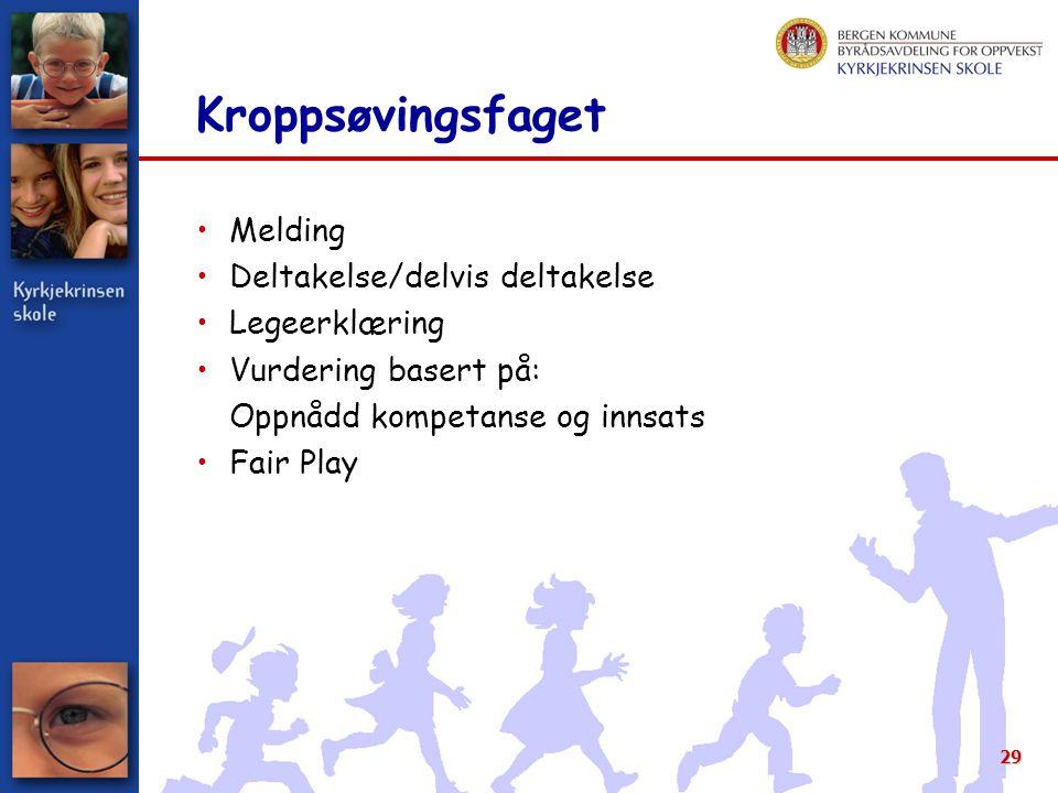29 Kroppsøvingsfaget Melding Deltakelse/delvis deltakelse Legeerklæring Vurdering basert på: Oppnådd kompetanse og innsats Fair Play