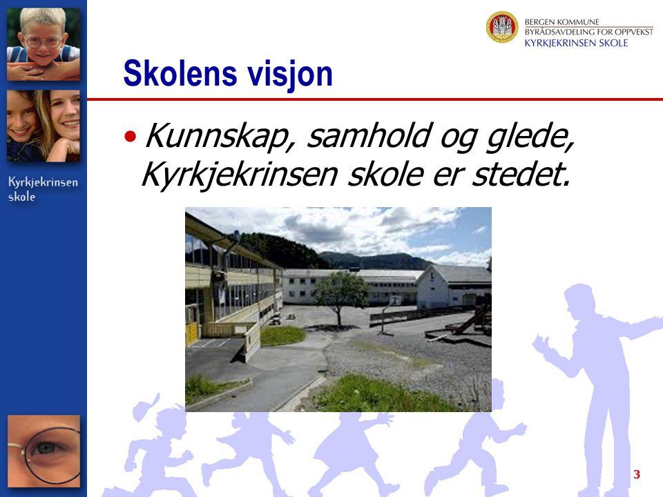 3 Skolens visjon Kunnskap, samhold og glede, Kyrkjekrinsen skole er stedet.