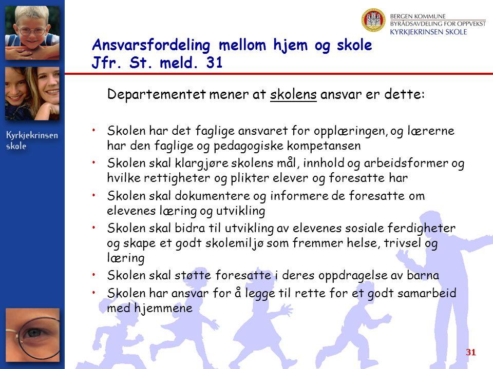31 Ansvarsfordeling mellom hjem og skole Jfr.St. meld.
