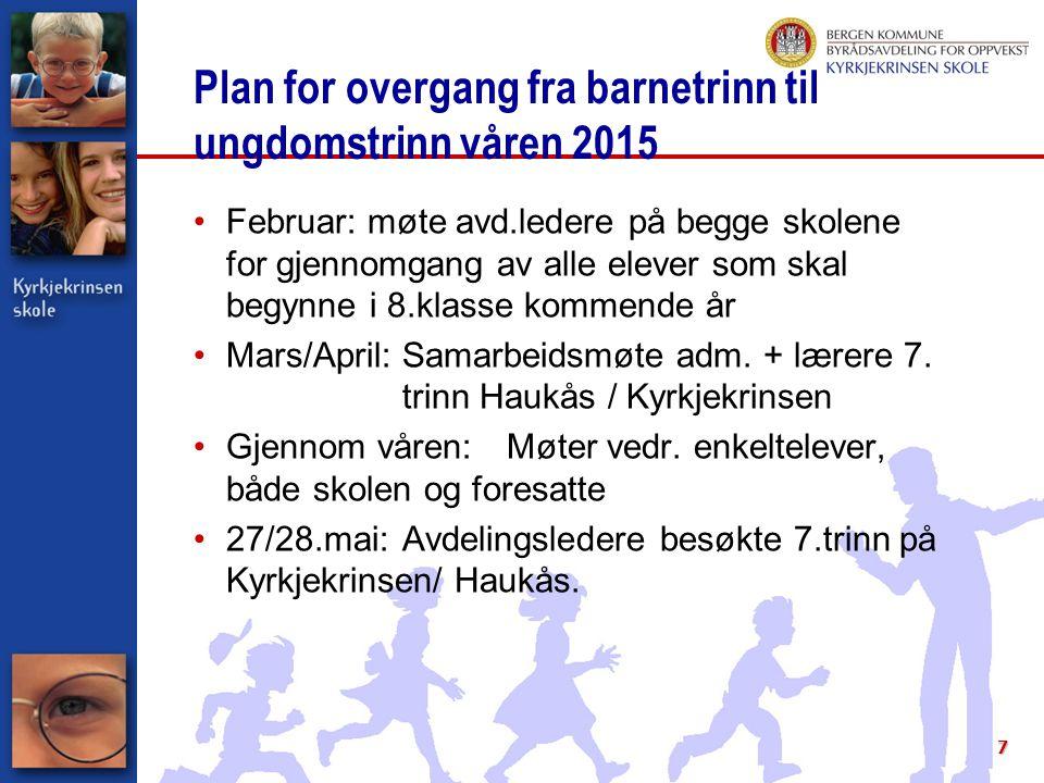 7 Plan for overgang fra barnetrinn til ungdomstrinn våren 2015 Februar: møte avd.ledere på begge skolene for gjennomgang av alle elever som skal begyn