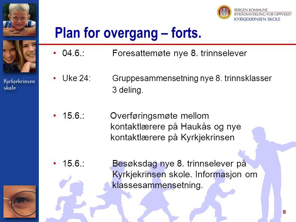 8 Plan for overgang – forts. 04.6.:Foresattemøte nye 8. trinnselever Uke 24:Gruppesammensetning nye 8. trinnsklasser 3 deling. 15.6.: Overføringsmøte
