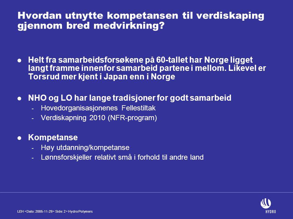 LEH Dato: 2005-11-29 Side: 2 Hydro Polymers Hvordan utnytte kompetansen til verdiskaping gjennom bred medvirkning? Helt fra samarbeidsforsøkene på 60-
