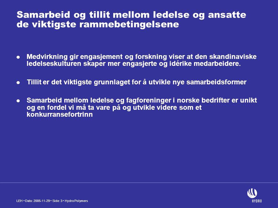 LEH Dato: 2005-11-29 Side: 3 Hydro Polymers Samarbeid og tillit mellom ledelse og ansatte de viktigste rammebetingelsene Medvirkning gir engasjement og forskning viser at den skandinaviske ledelseskulturen skaper mer engasjerte og idérike medarbeidere.