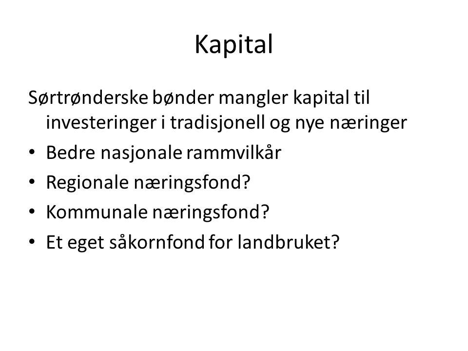 Kapital Sørtrønderske bønder mangler kapital til investeringer i tradisjonell og nye næringer Bedre nasjonale rammvilkår Regionale næringsfond? Kommun