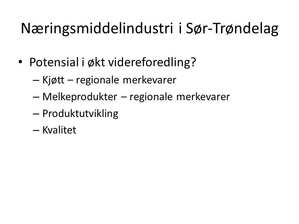 Næringsmiddelindustri i Sør-Trøndelag Potensial i økt videreforedling? – Kjøtt – regionale merkevarer – Melkeprodukter – regionale merkevarer – Produk