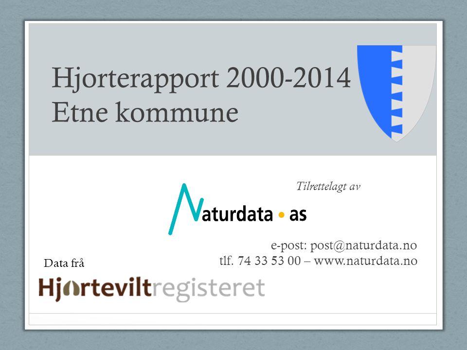 Hjorterapport 2000-2014 Etne kommune Tilrettelagt av e-post: post@naturdata.no tlf. 74 33 53 00 – www.naturdata.no Data frå