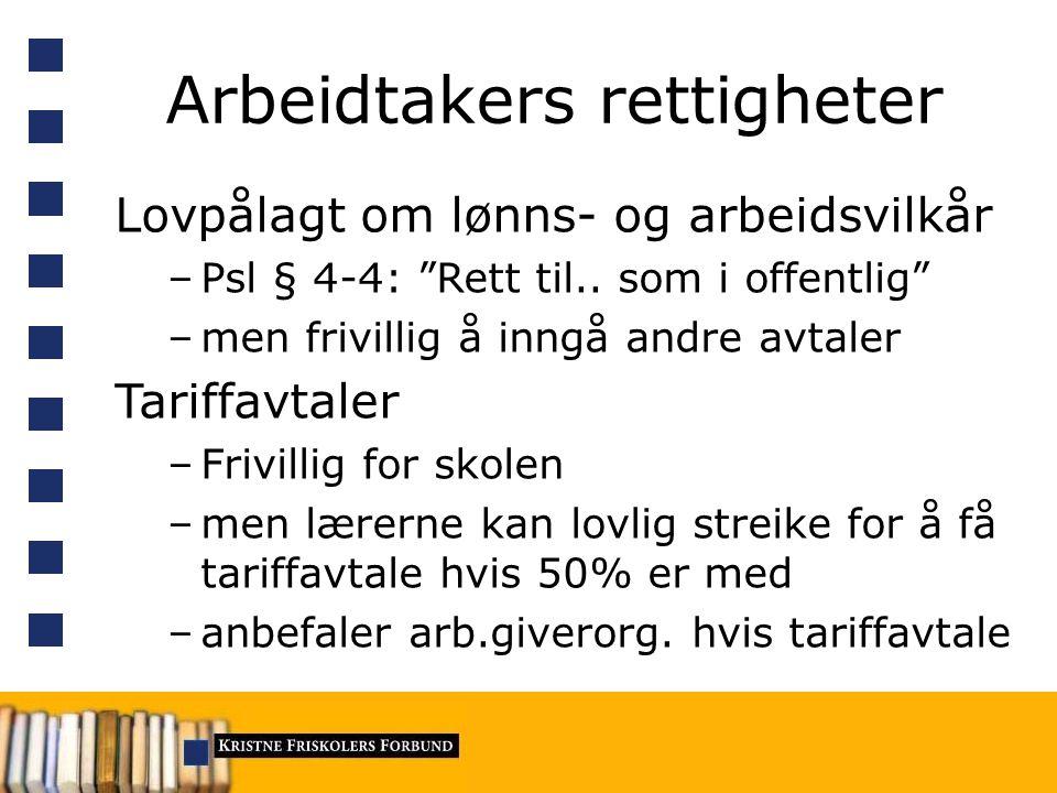 Arbeidtakers rettigheter Lovpålagt om lønns- og arbeidsvilkår –Psl § 4-4: Rett til..