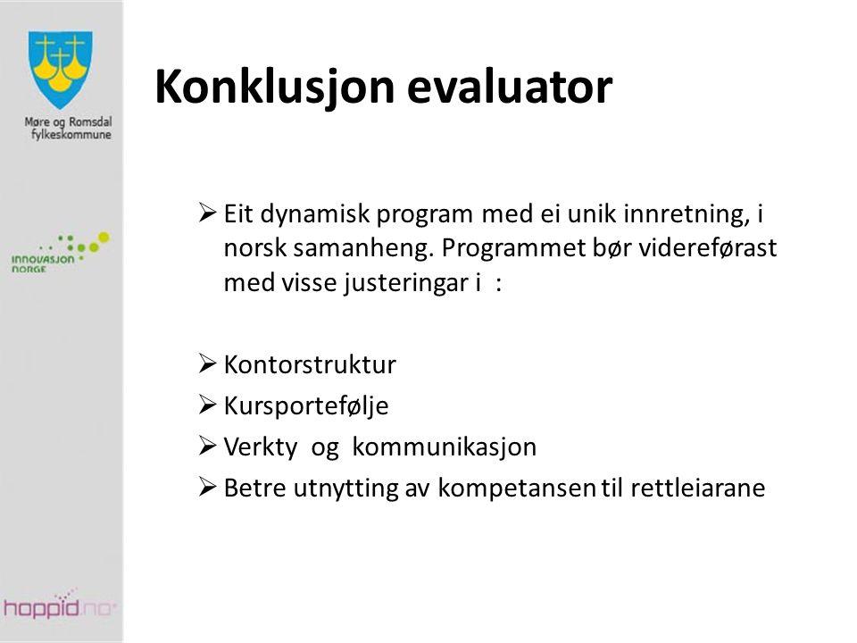Konklusjon evaluator  Eit dynamisk program med ei unik innretning, i norsk samanheng. Programmet bør videreførast med visse justeringar i :  Kontors