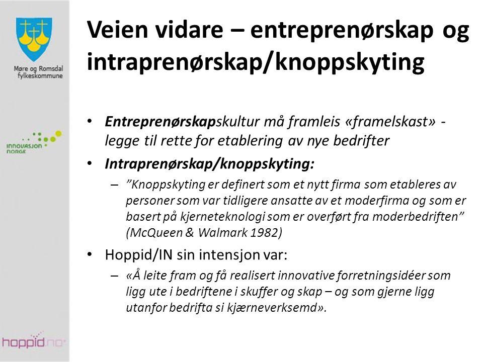 Veien vidare – entreprenørskap og intraprenørskap/knoppskyting Entreprenørskapskultur må framleis «framelskast» - legge til rette for etablering av ny