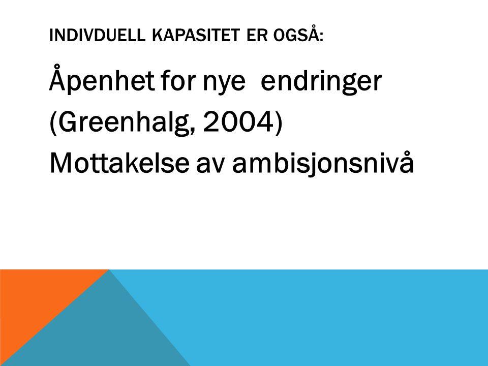 INDIVDUELL KAPASITET ER OGSÅ: Åpenhet for nye endringer (Greenhalg, 2004) Mottakelse av ambisjonsnivå