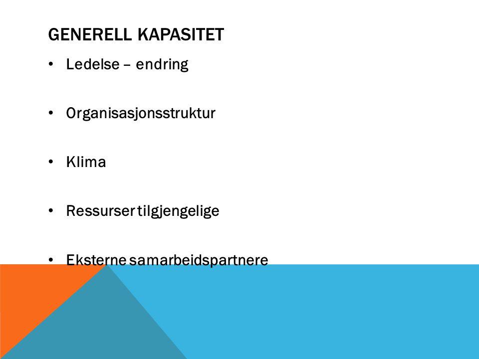 GENERELL KAPASITET Ledelse – endring Organisasjonsstruktur Klima Ressurser tilgjengelige Eksterne samarbeidspartnere