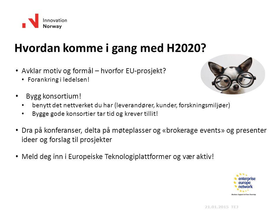Hvordan komme i gang med H2020. Avklar motiv og formål – hvorfor EU-prosjekt.