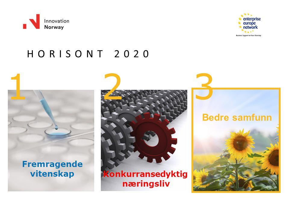 1 HORISONT 20202020 2 3 Fremragende vitenskap Konkurransedyktig næringsliv Bedre samfunn