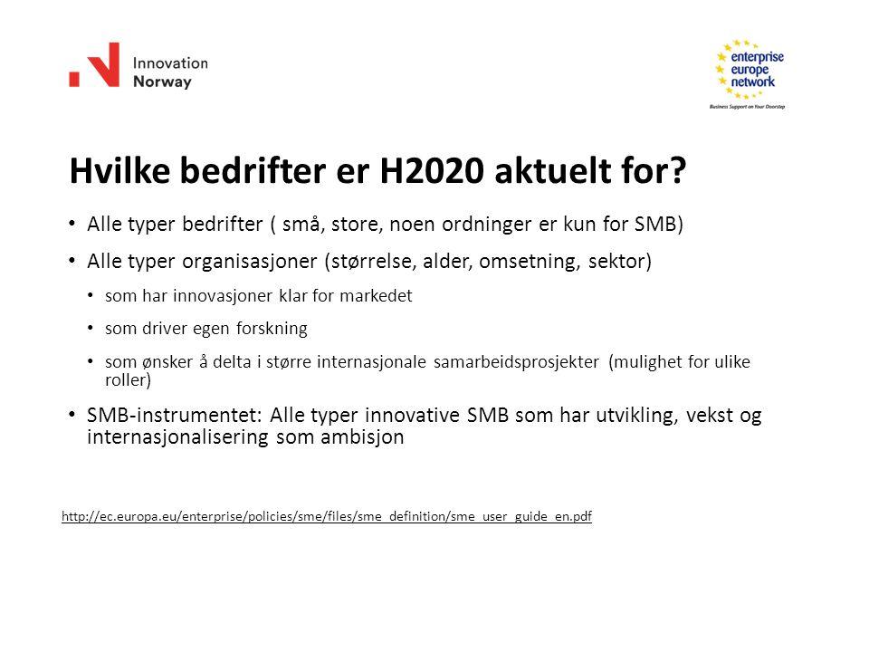 Hvilke bedrifter er H2020 aktuelt for.