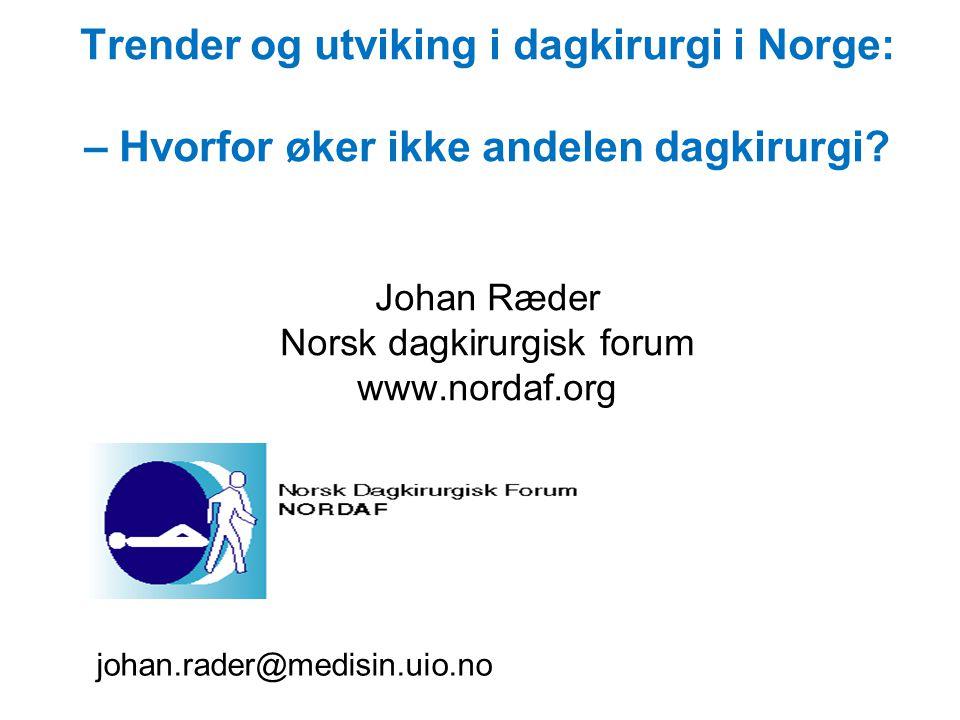 Trender og utviking i dagkirurgi i Norge: – Hvorfor øker ikke andelen dagkirurgi.