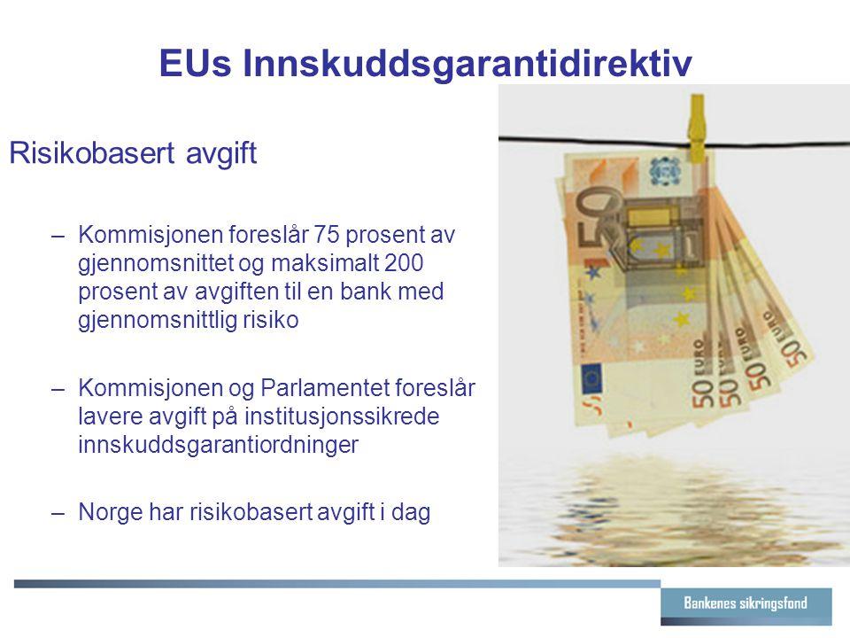 EUs Innskuddsgarantidirektiv Risikobasert avgift –Kommisjonen foreslår 75 prosent av gjennomsnittet og maksimalt 200 prosent av avgiften til en bank med gjennomsnittlig risiko –Kommisjonen og Parlamentet foreslår lavere avgift på institusjonssikrede innskuddsgarantiordninger –Norge har risikobasert avgift i dag
