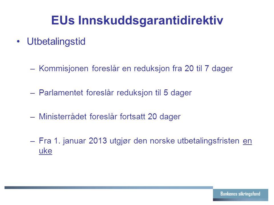 EUs Innskuddsgarantidirektiv Utbetalingstid –Kommisjonen foreslår en reduksjon fra 20 til 7 dager –Parlamentet foreslår reduksjon til 5 dager –Ministerrådet foreslår fortsatt 20 dager –Fra 1.