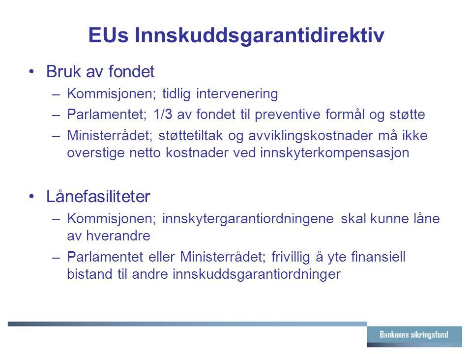 EUs Innskuddsgarantidirektiv Bruk av fondet –Kommisjonen; tidlig intervenering –Parlamentet; 1/3 av fondet til preventive formål og støtte –Ministerrådet; støttetiltak og avviklingskostnader må ikke overstige netto kostnader ved innskyterkompensasjon Lånefasiliteter –Kommisjonen; innskytergarantiordningene skal kunne låne av hverandre –Parlamentet eller Ministerrådet; frivillig å yte finansiell bistand til andre innskuddsgarantiordninger