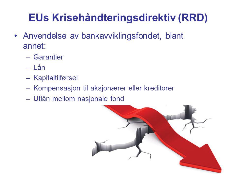 EUs Krisehåndteringsdirektiv (RRD) Anvendelse av bankavviklingsfondet, blant annet: –Garantier –Lån –Kapitaltilførsel –Kompensasjon til aksjonærer eller kreditorer –Utlån mellom nasjonale fond
