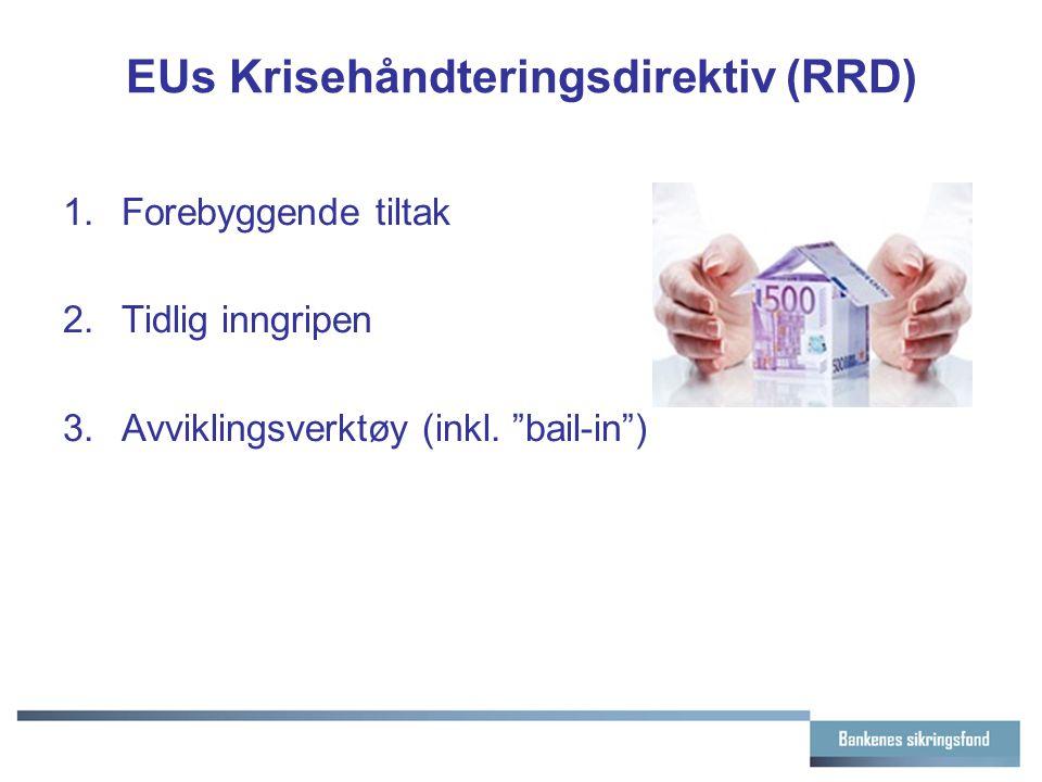 """EUs Krisehåndteringsdirektiv (RRD) 1.Forebyggende tiltak 2.Tidlig inngripen 3.Avviklingsverktøy (inkl. """"bail-in"""")"""