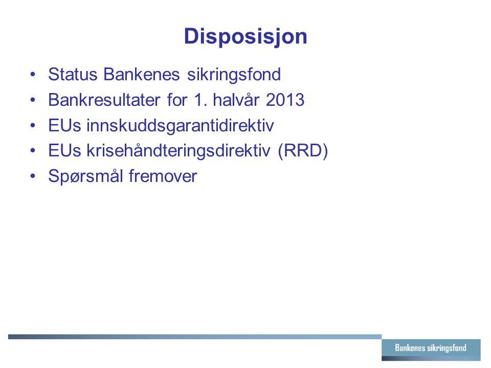 Disposisjon Status Bankenes sikringsfond Bankresultater for 1. halvår 2013 EUs innskuddsgarantidirektiv EUs krisehåndteringsdirektiv (RRD) Spørsmål fr