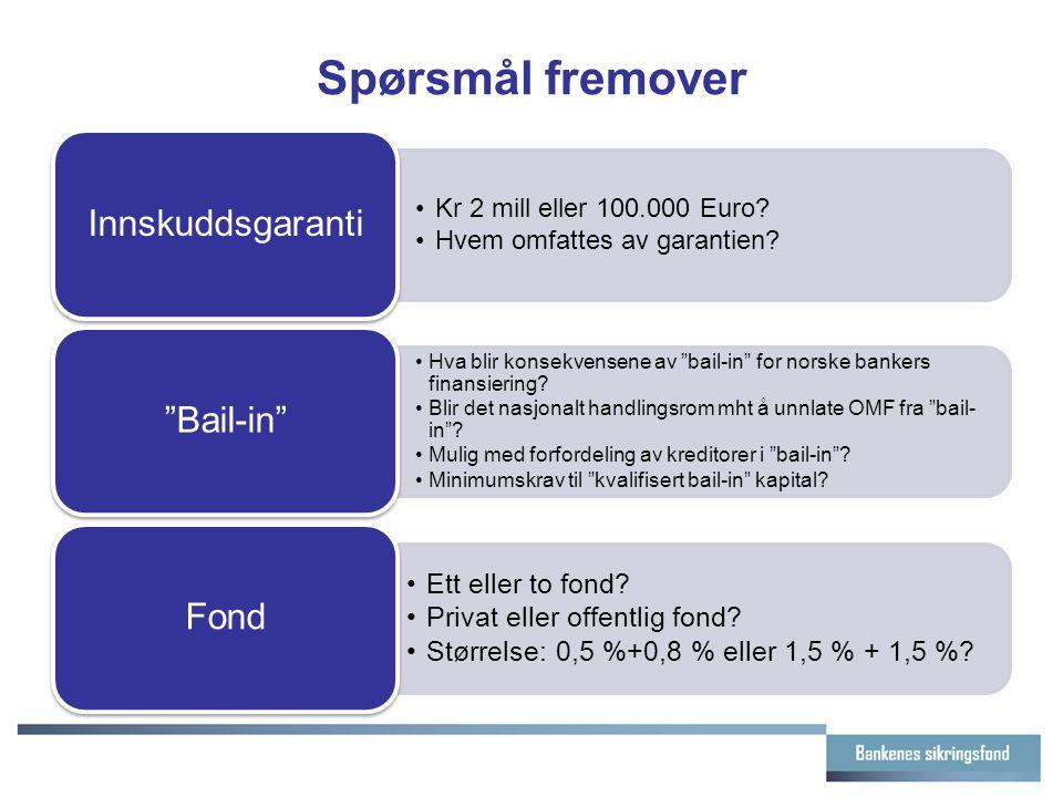 """Spørsmål fremover Kr 2 mill eller 100.000 Euro? Hvem omfattes av garantien? Innskuddsgaranti Hva blir konsekvensene av """"bail-in"""" for norske bankers fi"""