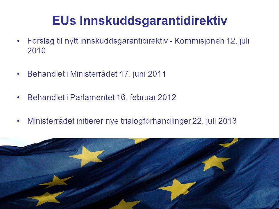EUs Innskuddsgarantidirektiv Innskuddsgarantiens størrelse –Særnorsk garanti på kr 2 mill –Ministerrådet åpner for en overgangsperiode til 2019 –Parlamentet mer positive til særbestemmelse –Fortsatt usikkert hva utfallet blir