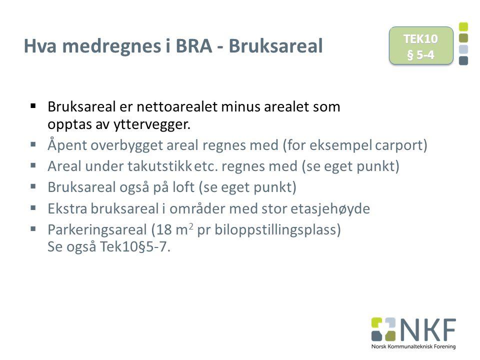 Hva medregnes i BRA - Bruksareal  Bruksareal er nettoarealet minus arealet som opptas av yttervegger.