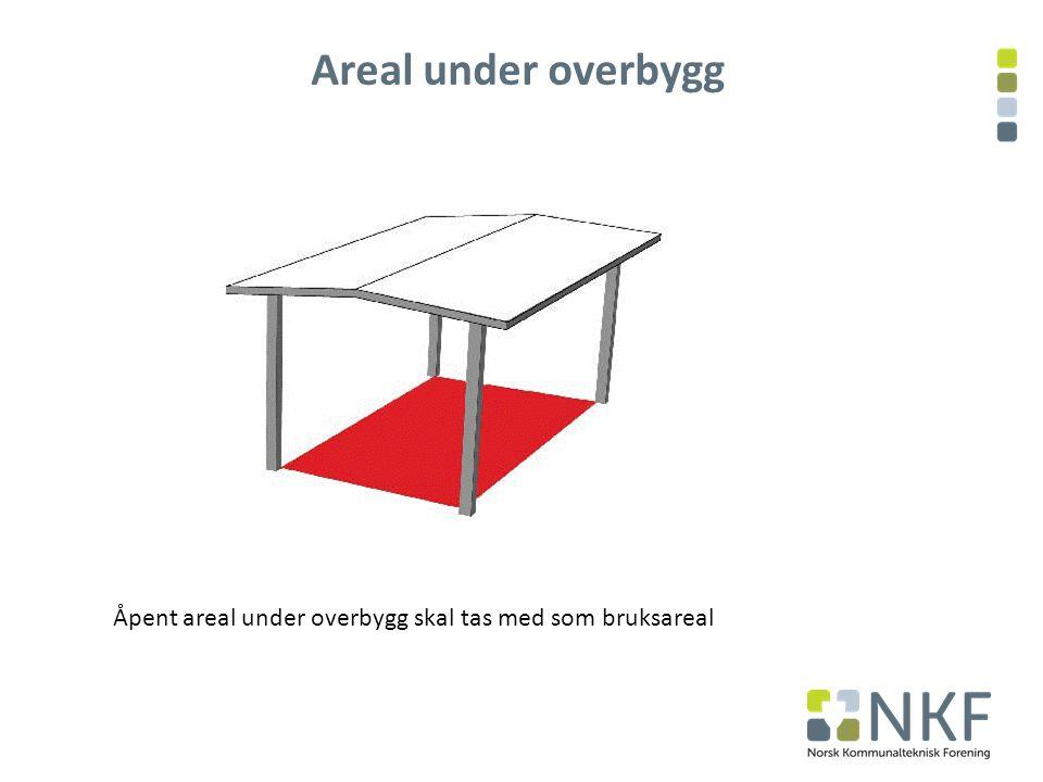 Areal under overbygg Åpent areal under overbygg skal tas med som bruksareal