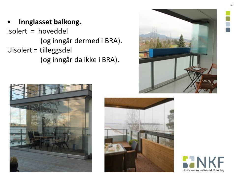 17 Innglasset balkong.Isolert = hoveddel (og inngår dermed i BRA).