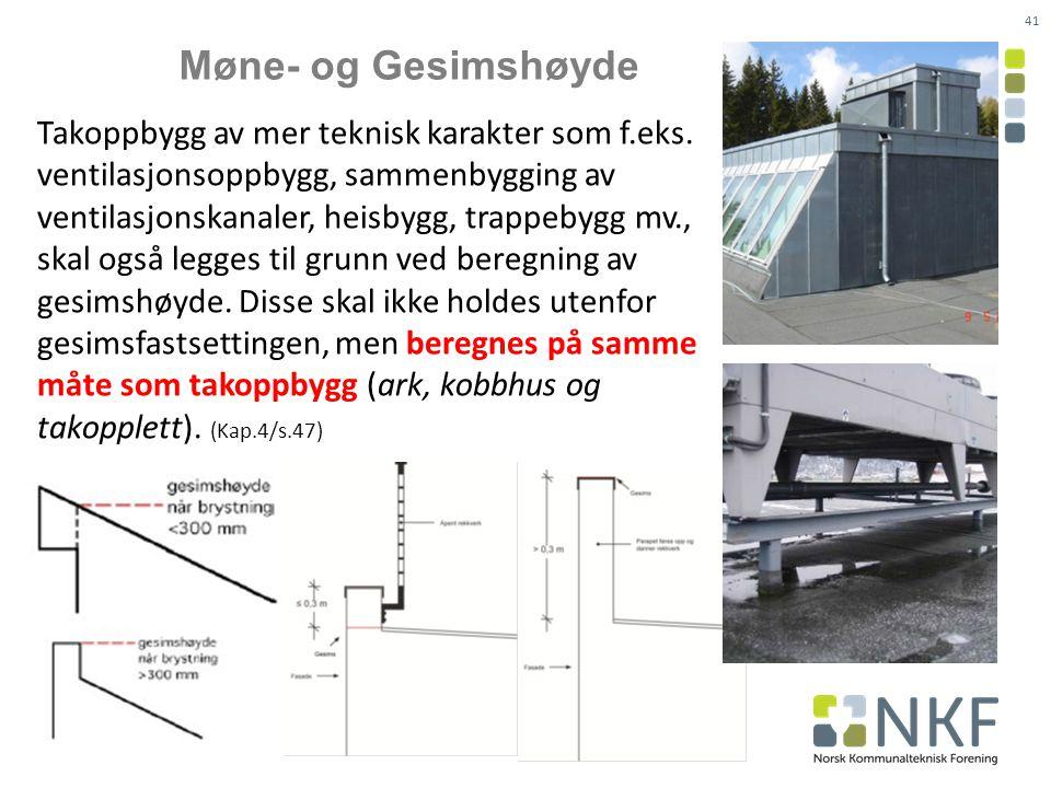 41 Møne- og Gesimshøyde Takoppbygg av mer teknisk karakter som f.eks.