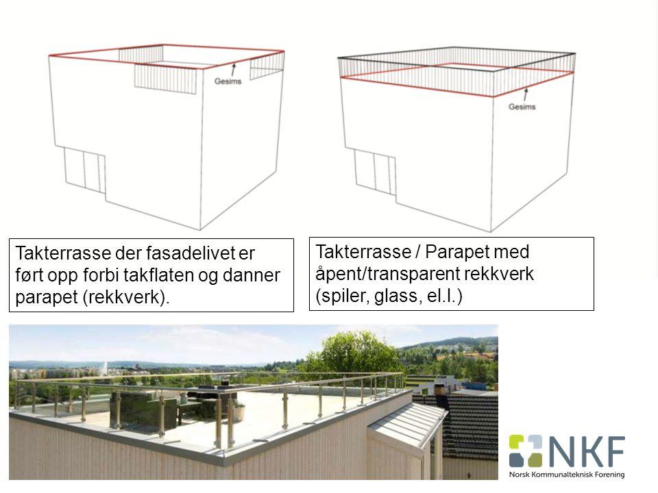 42 Takterrasse der fasadelivet er ført opp forbi takflaten og danner parapet (rekkverk).