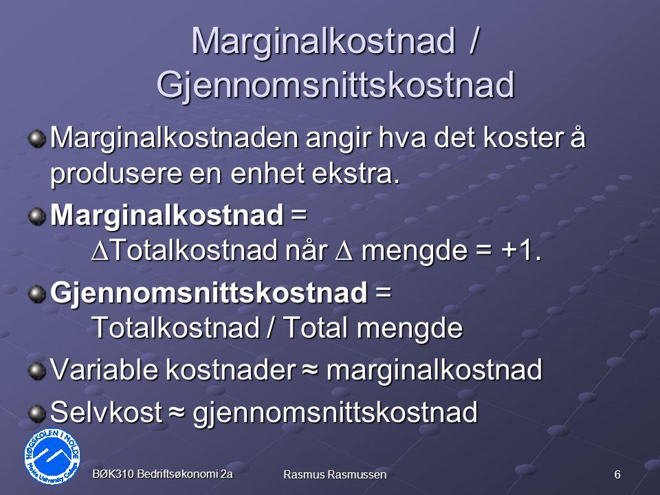 17 BØK310 Bedriftsøkonomi 2a Rasmus Rasmussen Reelle beløp p t = nominell pris tidspunkt t I t = Indeks tidspunkt t I h = Indeks referansetidspunkt h q t;h = realverdi av beløp på tidspunkt t, målt i kronverdi tidspunkt h