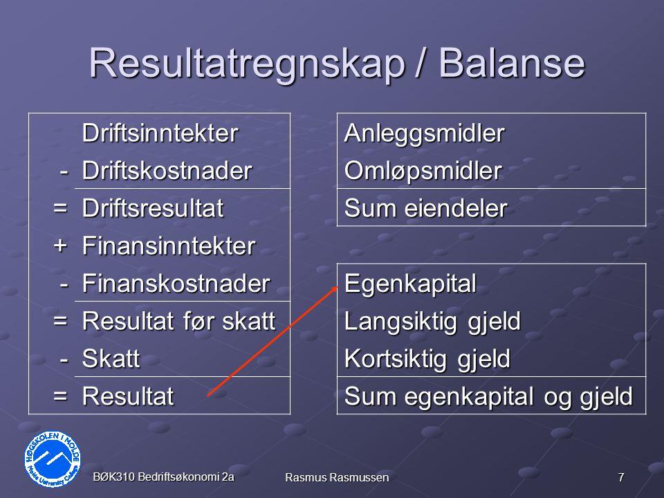 28 BØK310 Bedriftsøkonomi 2a Rasmus Rasmussen Underskudd Hvis et prosjekt går med underskudd vil selskapets totalresultat reduseres.