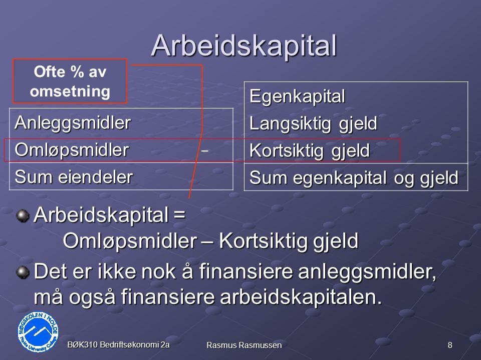 19 BØK310 Bedriftsøkonomi 2a Rasmus Rasmussen Nominell rente – Realrente Banken gir 5% nominell rente på innskudd.