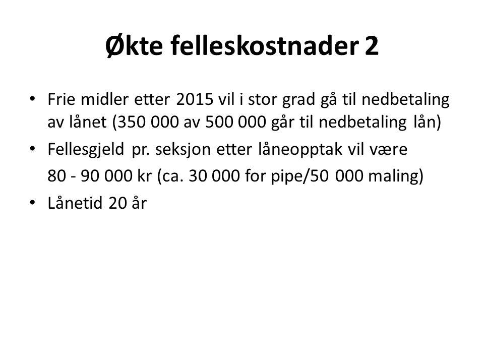 Økte felleskostnader 2 Frie midler etter 2015 vil i stor grad gå til nedbetaling av lånet (350 000 av 500 000 går til nedbetaling lån) Fellesgjeld pr.