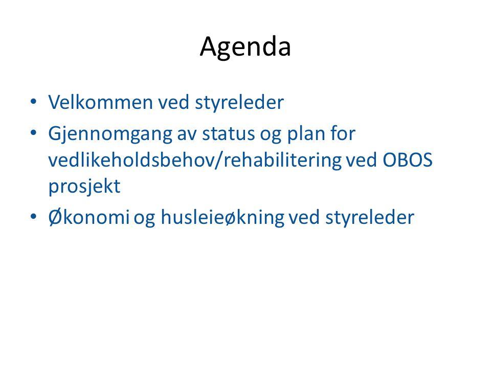 Agenda Velkommen ved styreleder Gjennomgang av status og plan for vedlikeholdsbehov/rehabilitering ved OBOS prosjekt Økonomi og husleieøkning ved styr