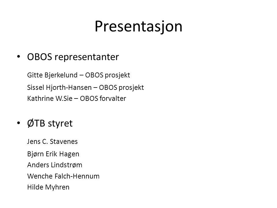 Presentasjon OBOS representanter Gitte Bjerkelund – OBOS prosjekt Sissel Hjorth-Hansen – OBOS prosjekt Kathrine W.Sie – OBOS forvalter ØTB styret Jens