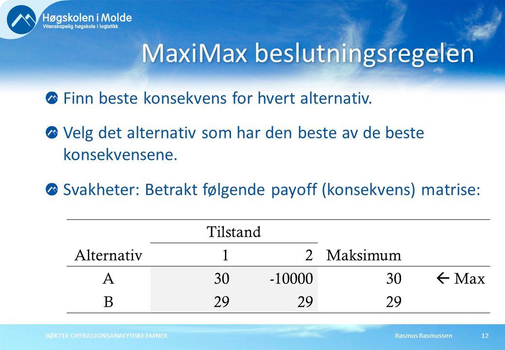 Rasmus RasmussenBØK710 OPERASJONSANALYTISKE EMNER12 Finn beste konsekvens for hvert alternativ. Velg det alternativ som har den beste av de beste kons