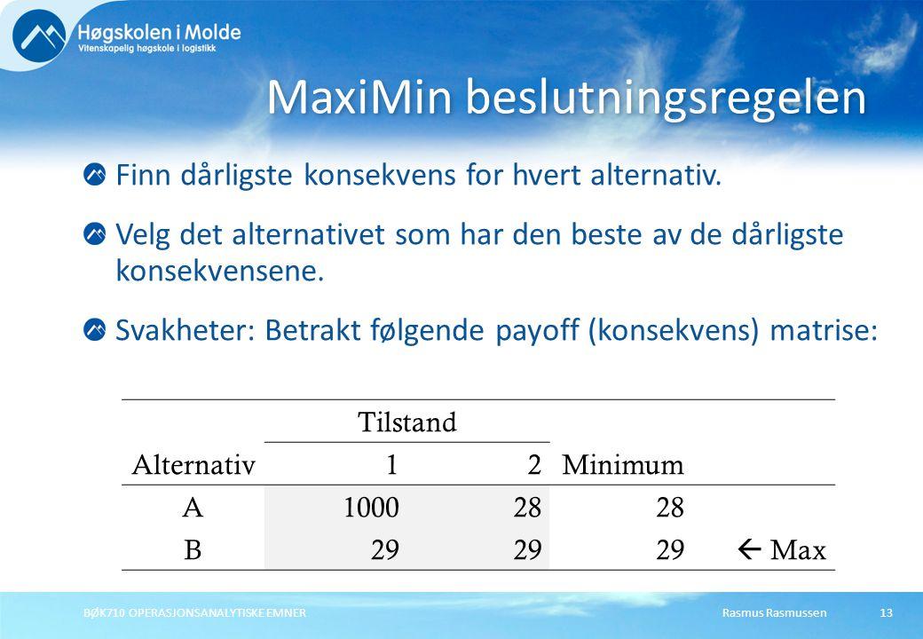 Rasmus RasmussenBØK710 OPERASJONSANALYTISKE EMNER13 Finn dårligste konsekvens for hvert alternativ.