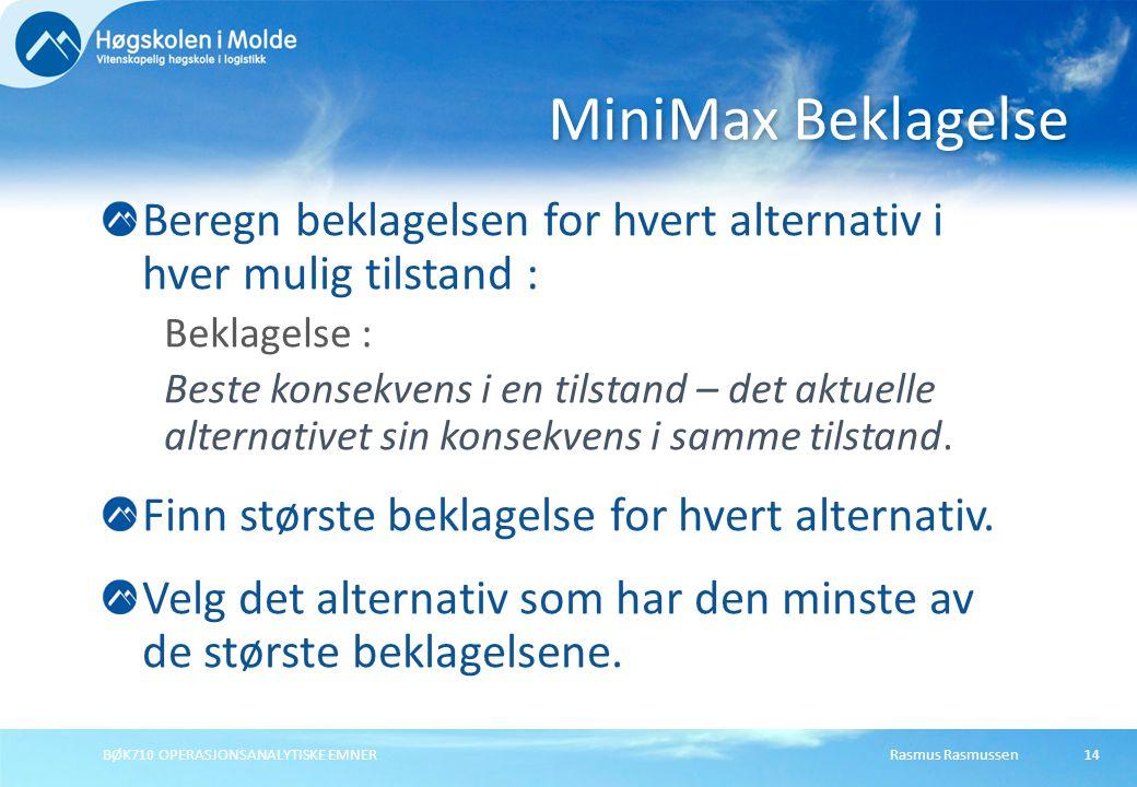 Rasmus RasmussenBØK710 OPERASJONSANALYTISKE EMNER14 Beregn beklagelsen for hvert alternativ i hver mulig tilstand : Beklagelse : Beste konsekvens i en