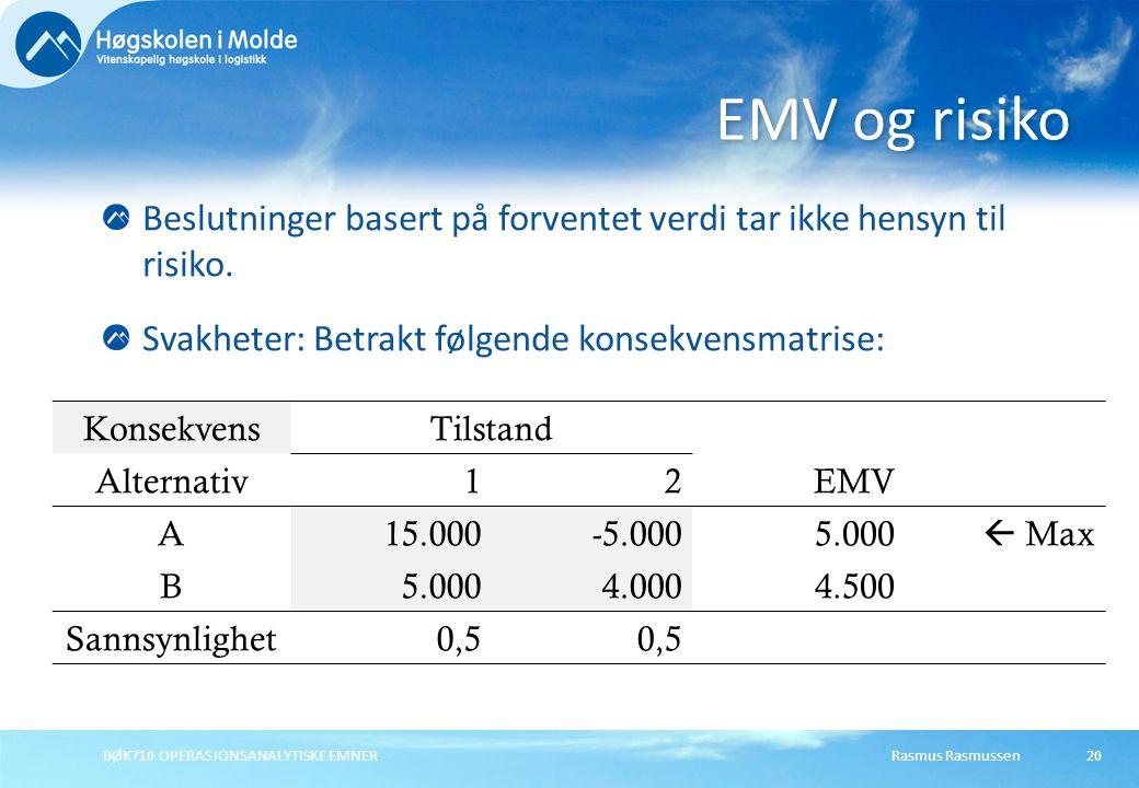 Rasmus RasmussenBØK710 OPERASJONSANALYTISKE EMNER20 Beslutninger basert på forventet verdi tar ikke hensyn til risiko.